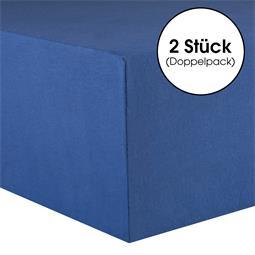 CelinaTex Spannbettlaken Baumwolle Lucina Doppelpack 90x200-100x200 royalblau