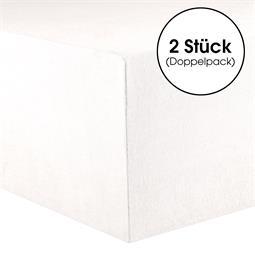 CelinaTex Spannbettlaken Baumwolle Lucina Doppelpack 140x200-160x200 schneeweiß