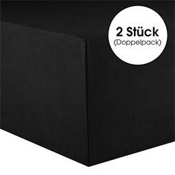 CelinaTex Spannbettlaken Baumwolle Lucina Doppelpack 90x200-100x200 schwarz