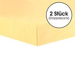 CelinaTex Topper Spannbettlaken Baumwolle Lucina Doppelpack 140x200-160x200 cremegelb