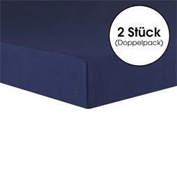 CelinaTex Topper Spannbettlaken Baumwolle Lucina Doppelpack 140x200-160x200 dunkelblau