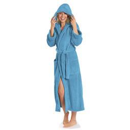 aqua-textil Bademantel Coral Fleece Flausch Kapuze Damen und Herren Malibu XS hellblau