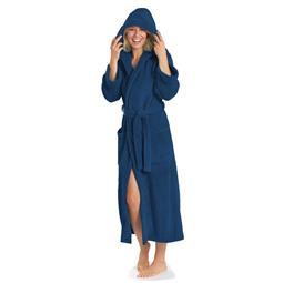 aqua-textil Bademantel Coral Fleece Flausch Kapuze Damen und Herren Malibu XS blau