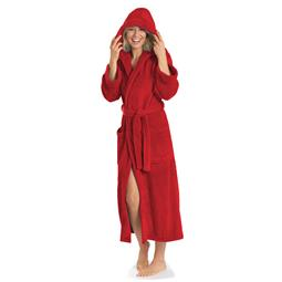 aqua-textil Bademantel Coral Fleece Flausch Kapuze Damen und Herren Malibu XS rot