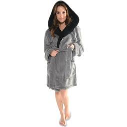 CelinaTex Bademantel Damen Coral Fleece Kapuze flauschig Miami XS anthrazit schwarz