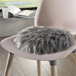 Rundes Sitzkissen Stuhlkissen Fell-Imitat Molly  Ø 45 cm grau