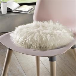 Rundes Sitzkissen Stuhlkissen Fell-Imitat Molly Ø 45 cm weiß