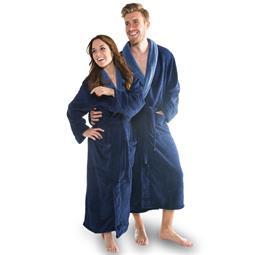 CelinaTex Bademantel Coral Fleece Flausch Damen und Herren Nevada dunkel blau mit mittel blau Größe XL