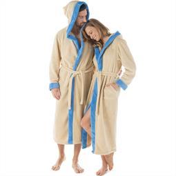 CelinaTex Bademantel Sherpa Fleece Flausch Damen und Herren Ohio S beige blau
