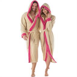 CelinaTex Bademantel Sherpa Fleece Flausch Damen und Herren Ohio S beige pink
