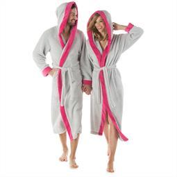 CelinaTex Bademantel Sherpa Fleece Flausch Damen und Herren Ohio XL grau pink