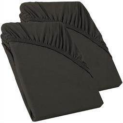 Perla Spannbettlaken Topper Baumwolle Doppelpack  anthrazit 90x200 - 100x200
