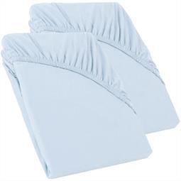 Perla Spannbettlaken Topper Baumwolle Doppelpack  aqua blau 90x200 - 100x200