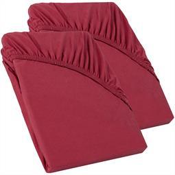 Perla Spannbettlaken Topper Baumwolle Doppelpack  bordeaux rot 90x200 - 100x200