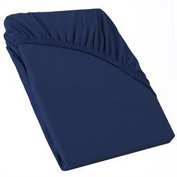 Perla Spannbettlaken Topper Baumwolle dunkel blau 140x200 - 160x200