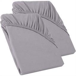 Perla Spannbettlaken Topper Baumwolle Doppelpack  dunkel grau 90x200 - 100x200