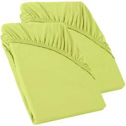 Perla Spannbettlaken Topper Baumwolle Doppelpack  grün 90x200 - 100x200