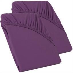 Perla Spannbettlaken Topper Baumwolle Doppelpack  lila 90x200 - 100x200