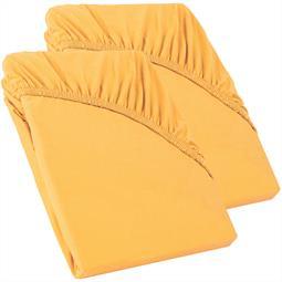 Perla Spannbettlaken Topper Baumwolle Doppelpack  mais gelb 90x200 - 100x200