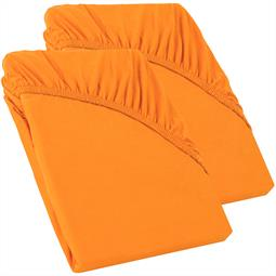 Perla Spannbettlaken Topper Baumwolle Doppelpack  orange 90x200 - 100x200