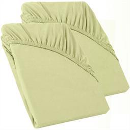 Perla Spannbettlaken Topper Baumwolle Doppelpack  pistazien grün 90x200 - 100x200