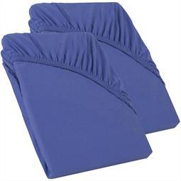 Perla Spannbettlaken Topper Baumwolle Doppelpack  royal blau 90x200 - 100x200