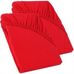 Perla Spannbettlaken Topper Baumwolle Doppelpack  rubin rot 90x200 - 100x200