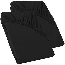 Perla Spannbettlaken Topper Baumwolle Doppelpack  schwarz 90x200 - 100x200