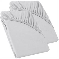 Perla Spannbettlaken Topper Baumwolle Doppelpack  silber grau 90x200 - 100x200