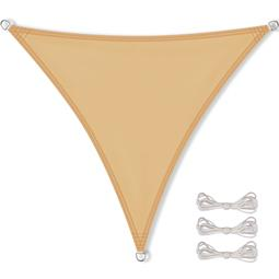 CelinaSun Sonnensegel PES UPF 50+ UV-Schutz wasserabweisend inkl. Befestigungsseile Dreieck 5,6x5,6x5,6 sandbeige