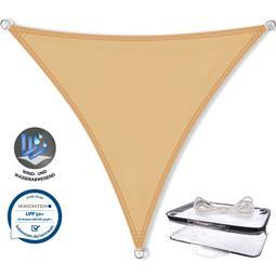 CelinaSun Sonnensegel PES UPF 50+ UV-Schutz wasserabweisend Dreieck 4x4x4 sandbeige