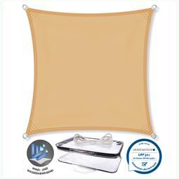 CelinaSun Sonnensegel PES UPF 50+ UV-Schutz wasserabweisend Quadrat 3x3 sandbeige