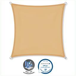 CelinaSun Sonnensegel PES UPF 50+ UV-Schutz wasserabweisend Quadrat 5,6x5,6 sandbeige