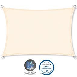 CelinaSun Sonnensegel PES UPF 50+ UV-Schutz wasserabweisend Rechteck 3x4 cremeweiß