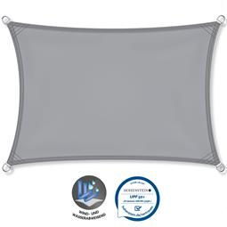 CelinaSun Sonnensegel PES UPF 50+ UV-Schutz wasserabweisend Rechteck 2x4 hellgrau