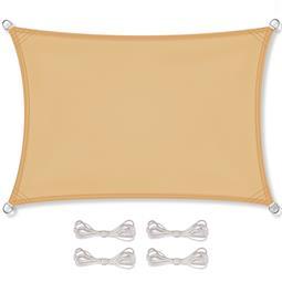 CelinaSun Sonnensegel PES UPF 50+ UV-Schutz wasserabweisend inkl. Befestigungsseile Rechteck 4x6 sandbeige