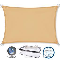 CelinaSun Sonnensegel PES UPF 50+ UV-Schutz wasserabweisend Rechteck 3,5x5 sandbeige