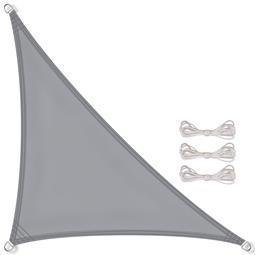 CelinaSun Sonnensegel PES UPF 50+ UV-Schutz wasserabweisend inkl. Befestigungsseile Dreieck 3,2x3,2x4,5 hellgrau