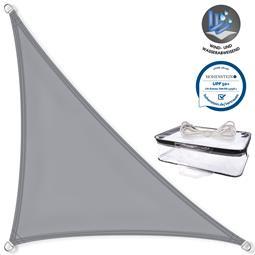 CelinaSun Sonnensegel PES UPF 50+ UV-Schutz wasserabweisend Dreieck 3,2x3,2x4,5 hellgrau