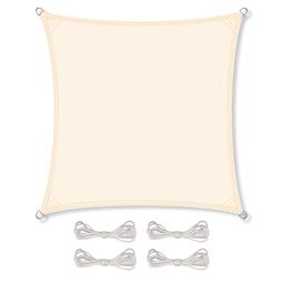 CelinaSun Sonnensegel PES wind- und wasserabweisend inkl. Befestigungsseile BASIC Quadrat 3x3 cremeweiß
