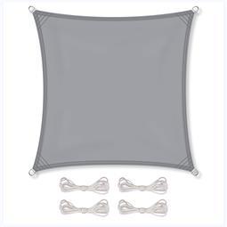 CelinaSun Sonnensegel PES wind- und wasserabweisend inkl. Befestigungsseile BASIC Quadrat 2x2 hellgrau