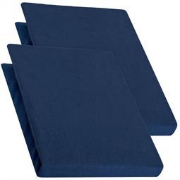 Topper Spannbettlaken Jersey Baumwolle PUR Doppelpack 90x200-100x200 dunkelblau