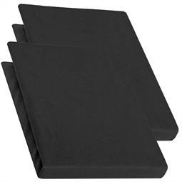 Topper Spannbettlaken Jersey Baumwolle PUR Doppelpack 90x200-100x200 schwarz
