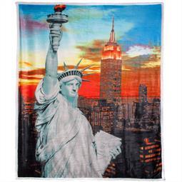 Quinta Kuscheldecke Photoprint Lambskin-Optik 150x200 New York schwarz