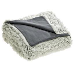 Bettwäsche Garnitur Polar-Fleece Flokati Optik Reißverschluss Shetland 200x200 creme/grau