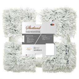 Kuscheldecke 150x200 cm Polar-Fleece Flokati Optik Shetland creme/grau