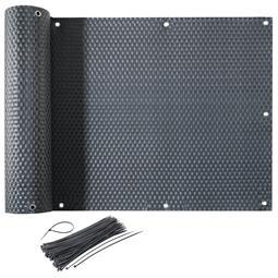 CelinaSun Sichtschutz Balkon Bespannung Rattan Optik mit Kabelbinder 0,75x6m grau