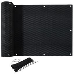 CelinaSun Sichtschutz Balkon Bespannung Rattan Optik mit Kabelbinder 0,75x6m schwarz