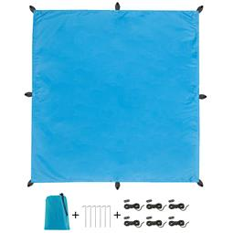 CelinaSun Sonnensegel PES UPF 50+ outdoor ultraleicht Tragebeutel Quadrat 3x3 blau