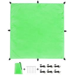 CelinaSun Sonnensegel PES UPF 50+ outdoor ultraleicht Tragebeutel Quadrat 3x3 grün
